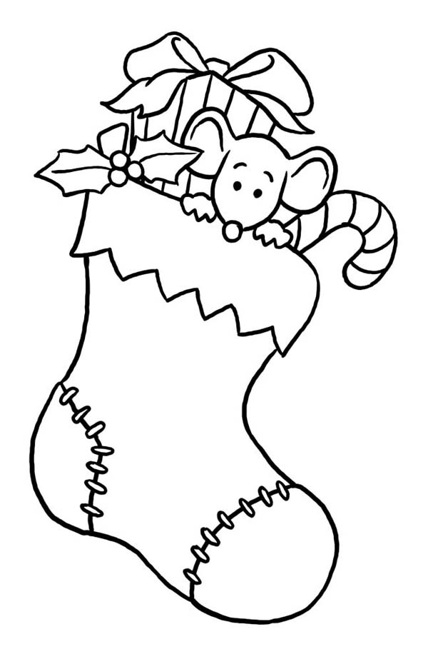 little mouse hidding on christmas stocking coloring page
