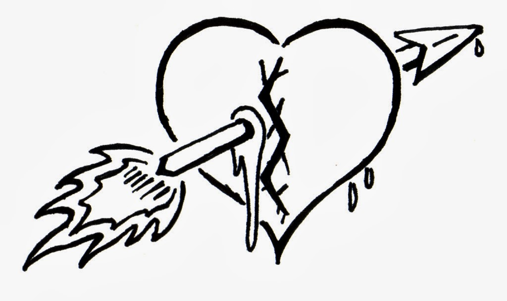 Heart Tattoo Line Drawing : Free coloring pages of heart broken in half