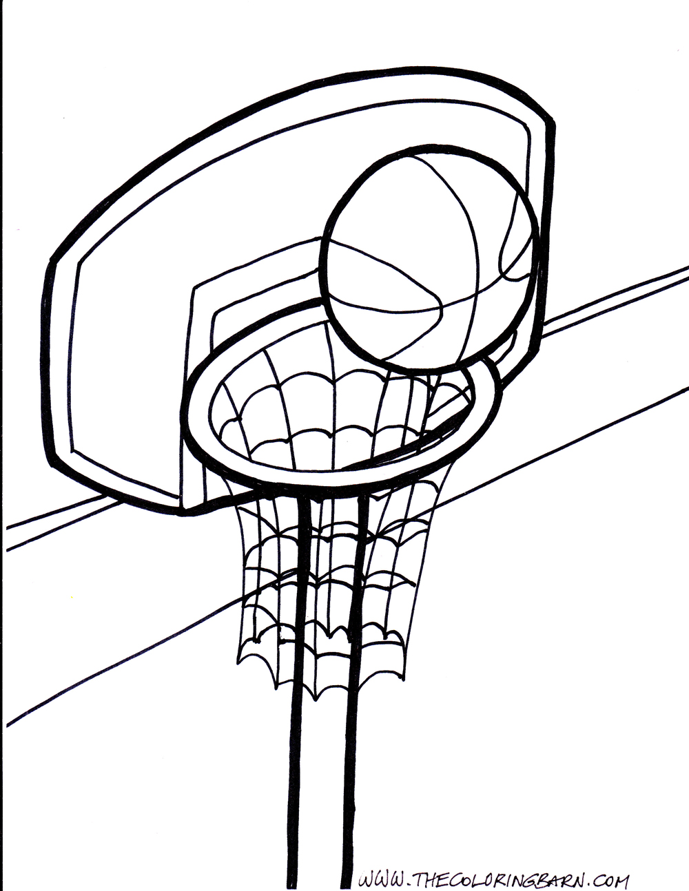 Basketball hoop free colouring pages for Free basketball coloring pages