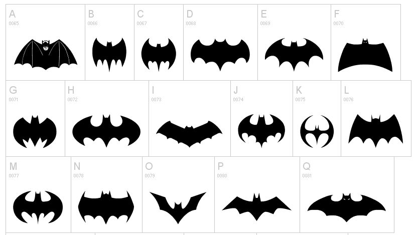 Batman Logo Cliparts Dingbats | Dingfonts.com