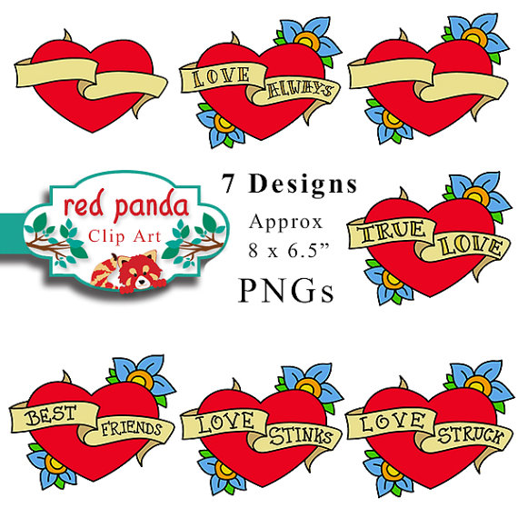 Heart With Banner Tattoo  Clipartsco