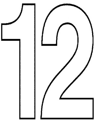 Pictures Of Number 12 Clipart Black And White