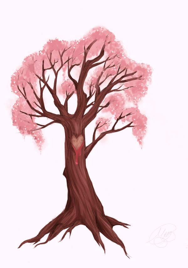 Cartoon Cherry Blossom Tree