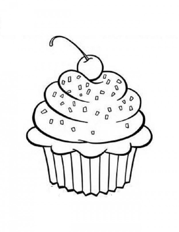 Cupcake Outline Printable Images & Pictures - Becuo