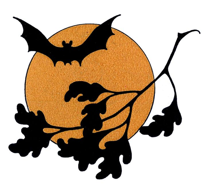 Vintage Halloween Clip Art - Bat with Moon