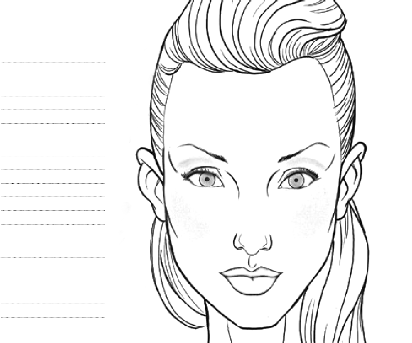 blank female face template - photo #2