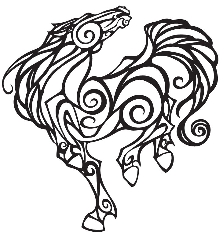 Horse Line Drawing Tattoo : Horse line art cliparts