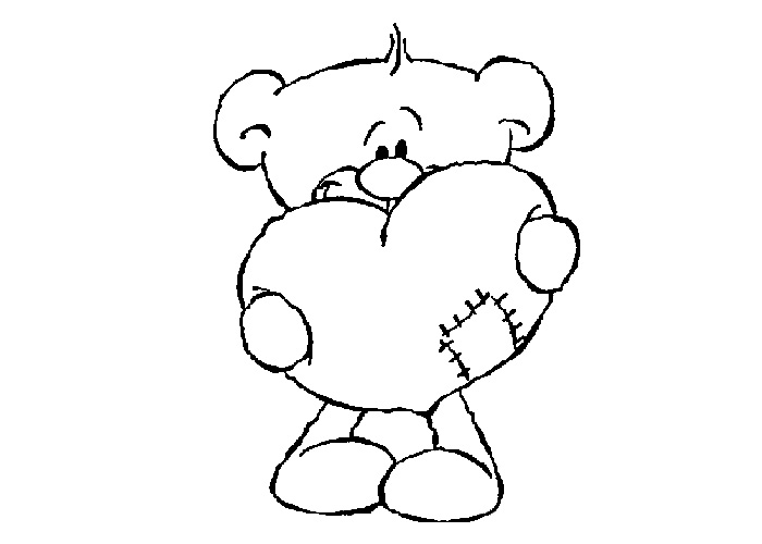 teddy bear heart coloring pages - photo#22