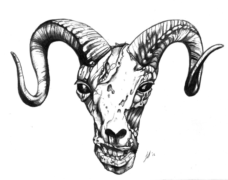 Satanic ram tattoo