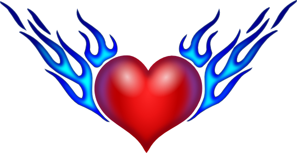 Drawings Of Hearts On Fire