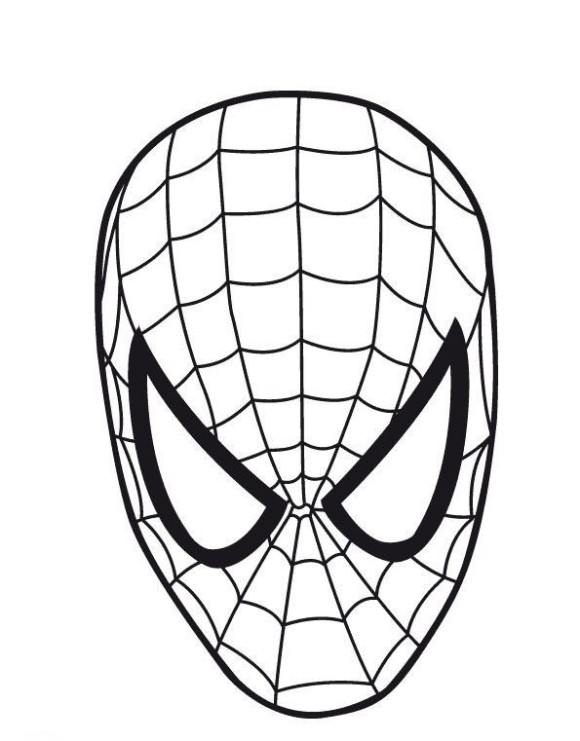 Spiderman face template for Iron man face coloring pages