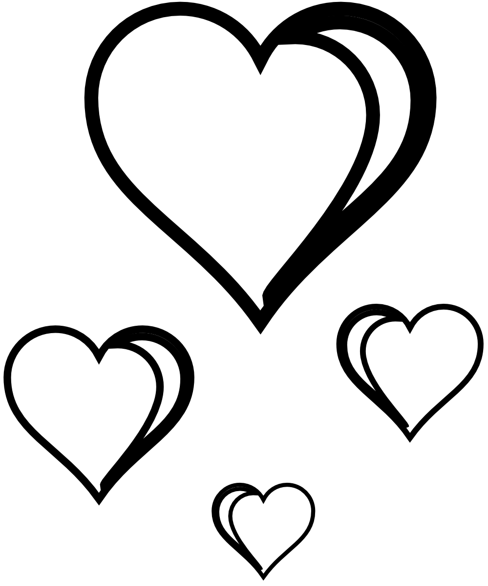 Heart Cluster Coloring Book Colouring Sheet Page Black White Line ...