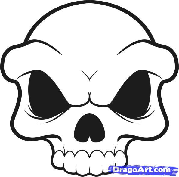Skull Line Drawing Easy : Simple skull drawings cliparts