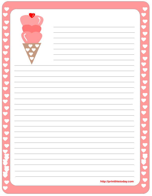 Free Printable Valentine Stationery | Print This Today
