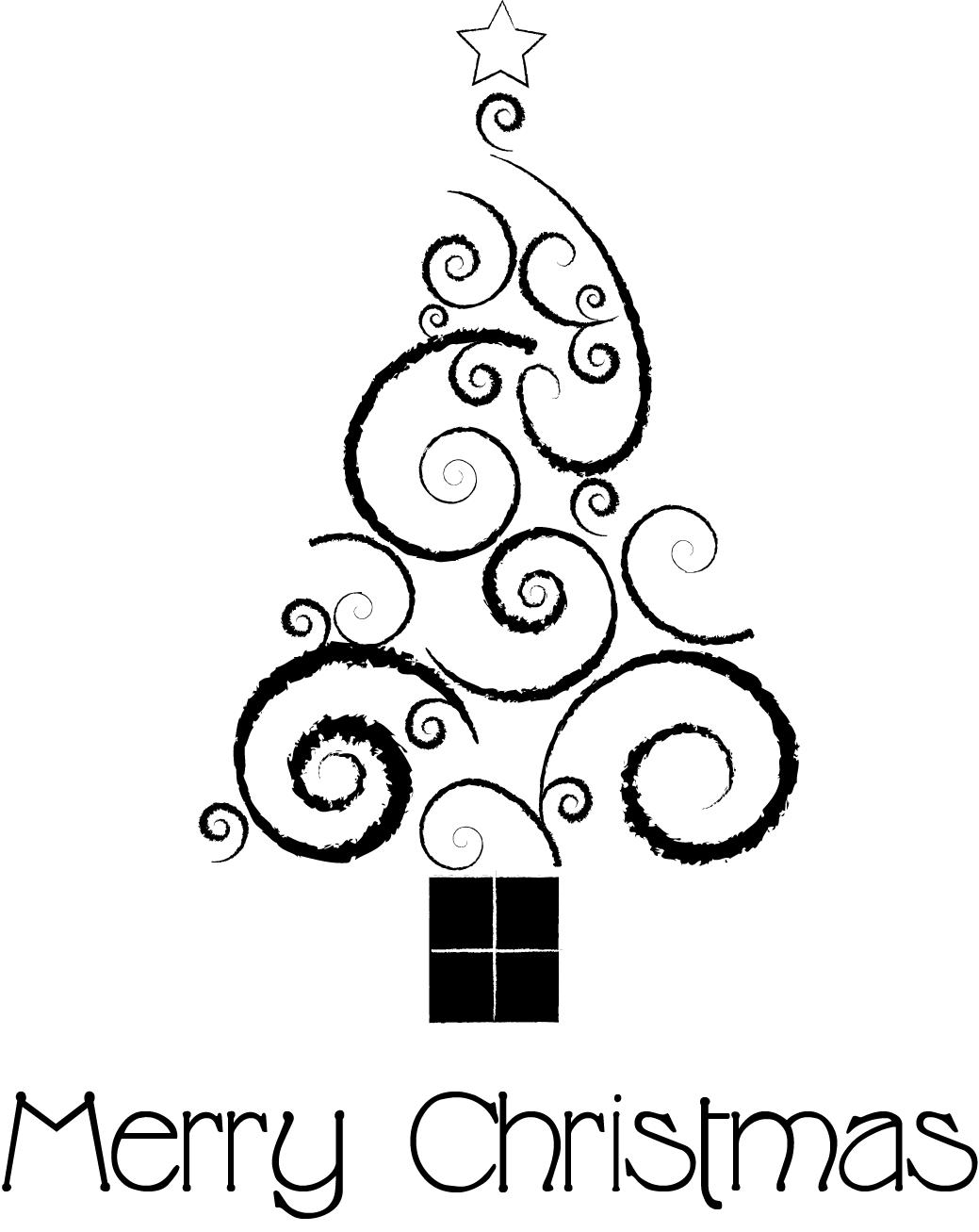 Line Drawing Xmas : Christmas tree line drawing cliparts