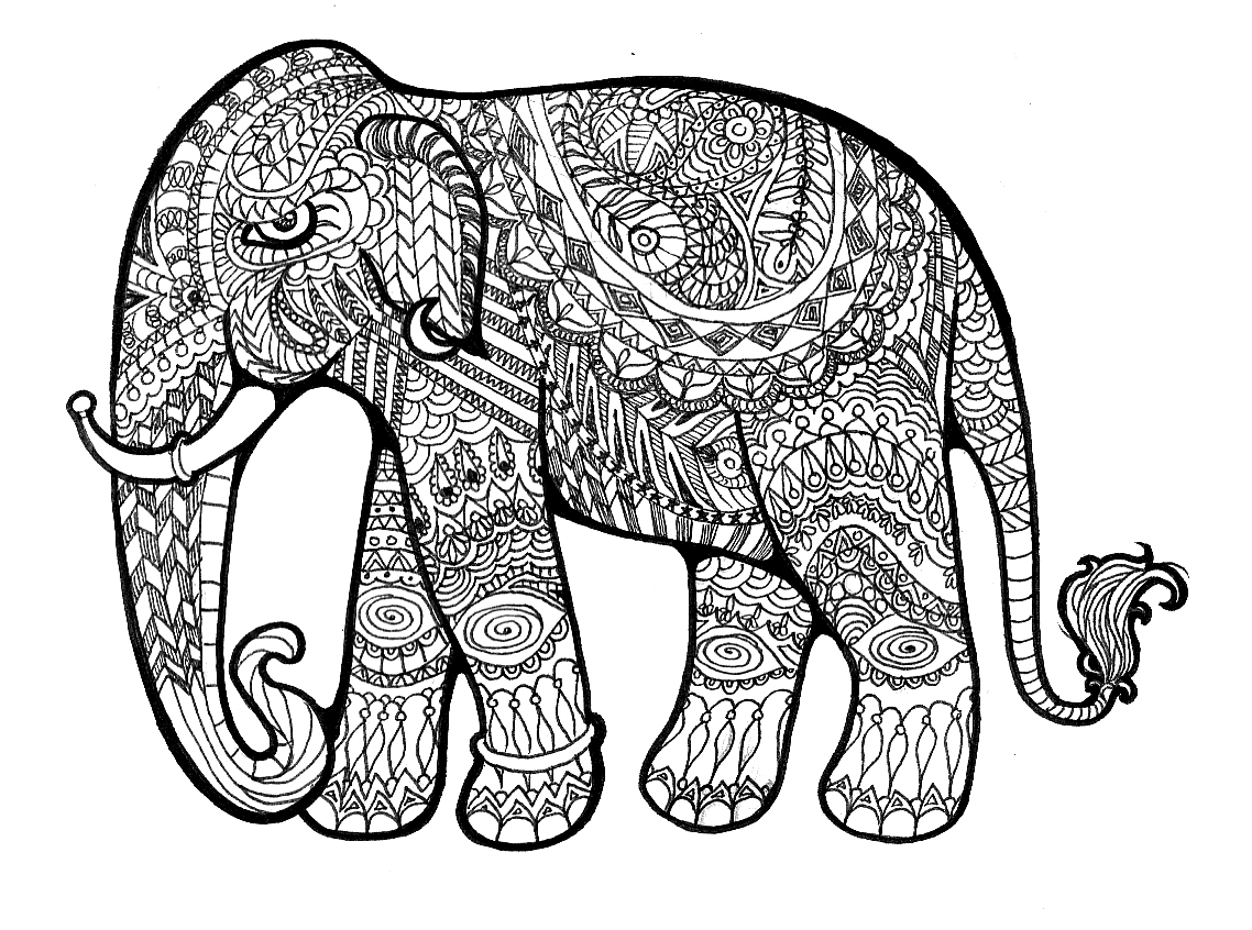 Line Drawing Of Elephant - Cliparts.co