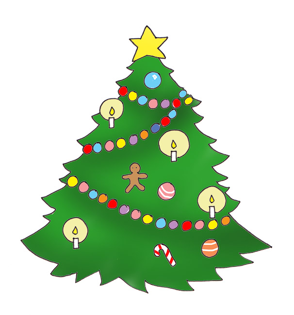 Christmas tree clip art candles baubles free printable greeting