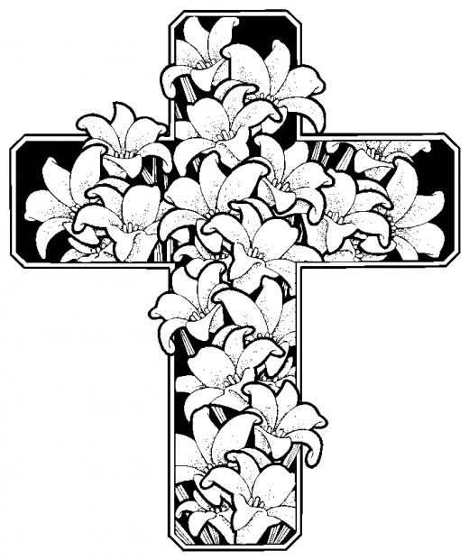 Cross Drawings With Flowers Kids easter themed coloring