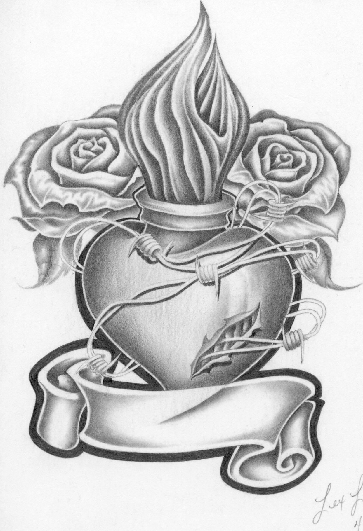Rose And Heart Drawings