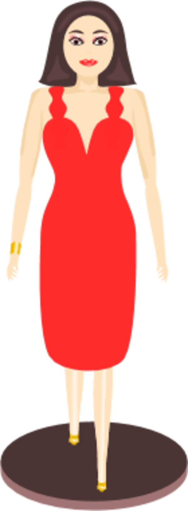 girl in red dress clipart