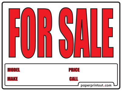 Clever image within printable for sale signs for cars