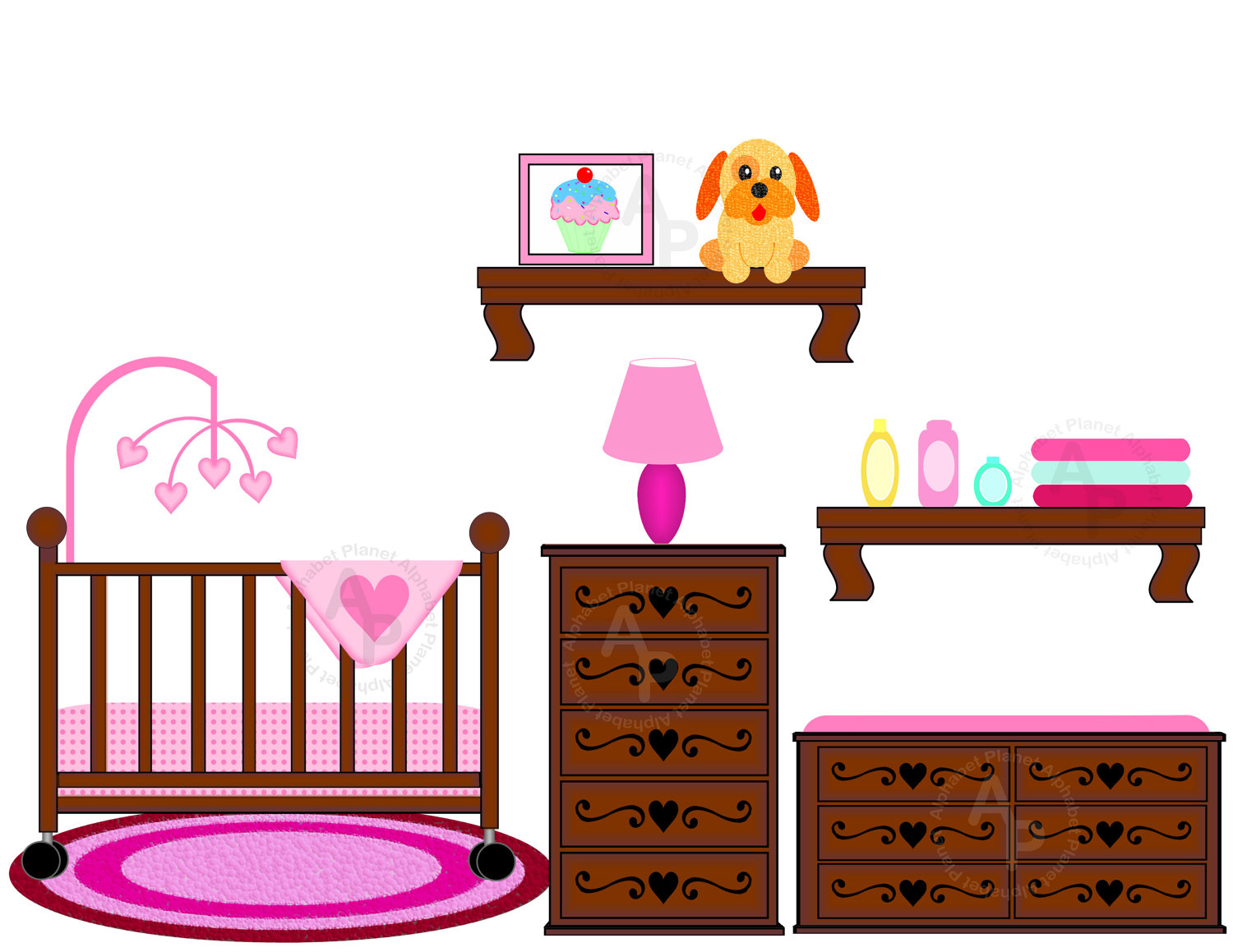 Baby girl Nursery Crib Changing table by SunkissedGraphics2