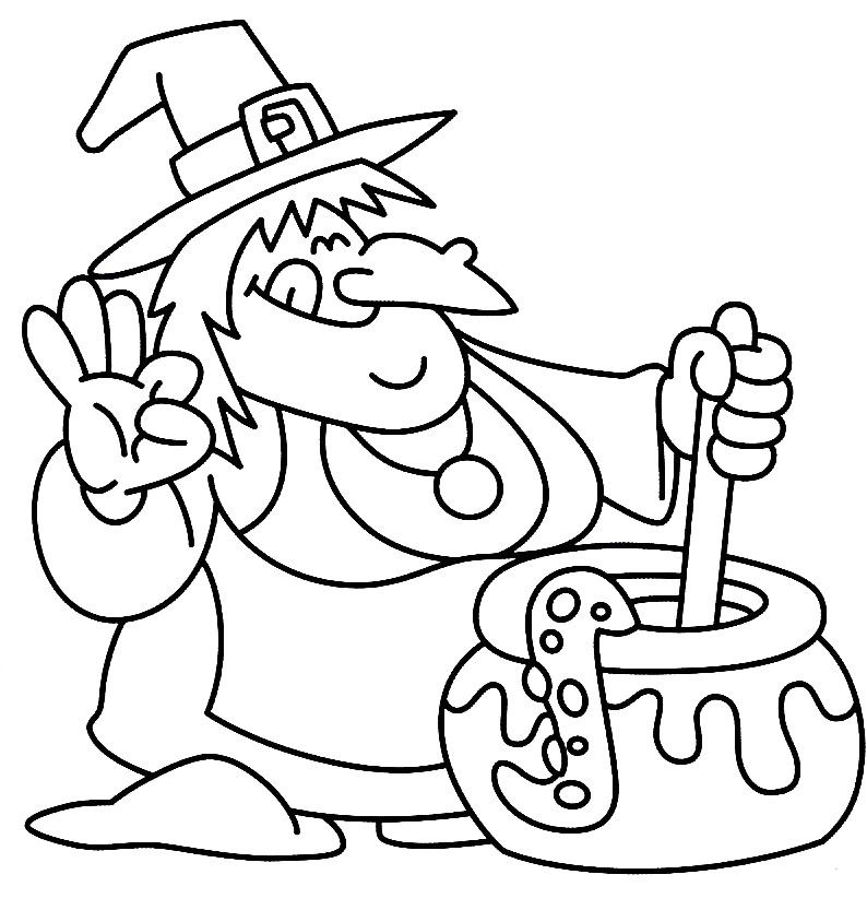 excellent witch spooky cooking alone coloring page halloween coloring pages with cooking coloring page