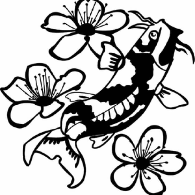 Koi fish clip art for Black and white coy fish