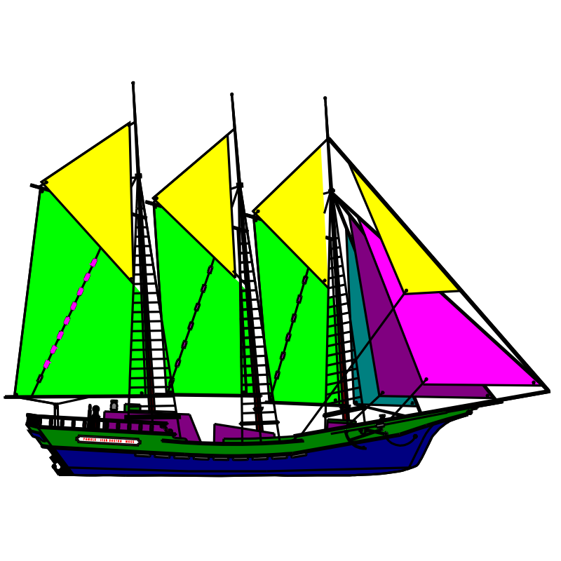 Clipart - colourful sailboat