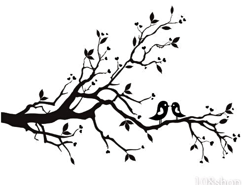Cherry Blossom Branch Bird Vinyl Wall Decal Wd F image - vector ...