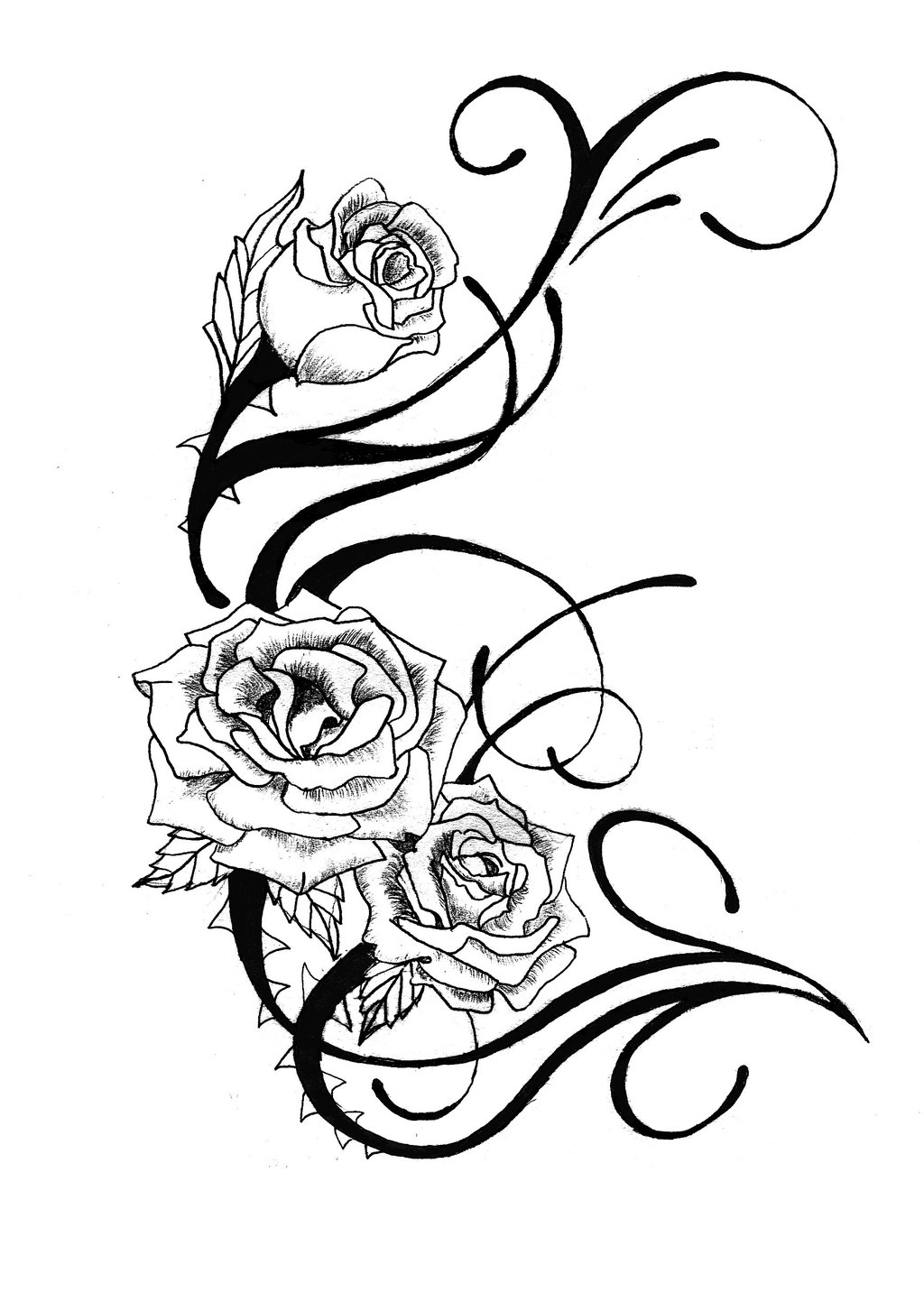 Black And White Flower Tattoo Cliparts Co