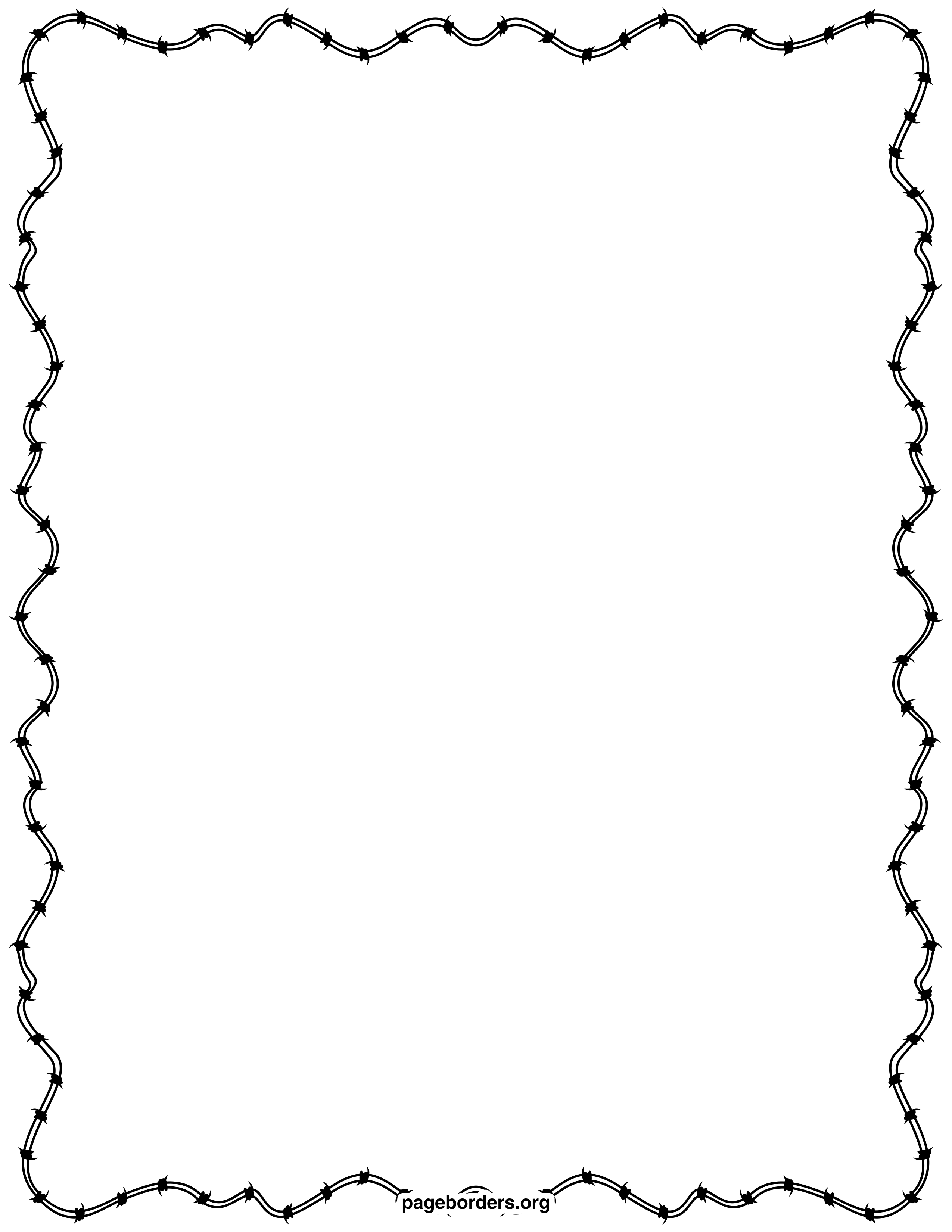 Barbed Wire Border: Clip Art, Page Border, and Vector Graphics