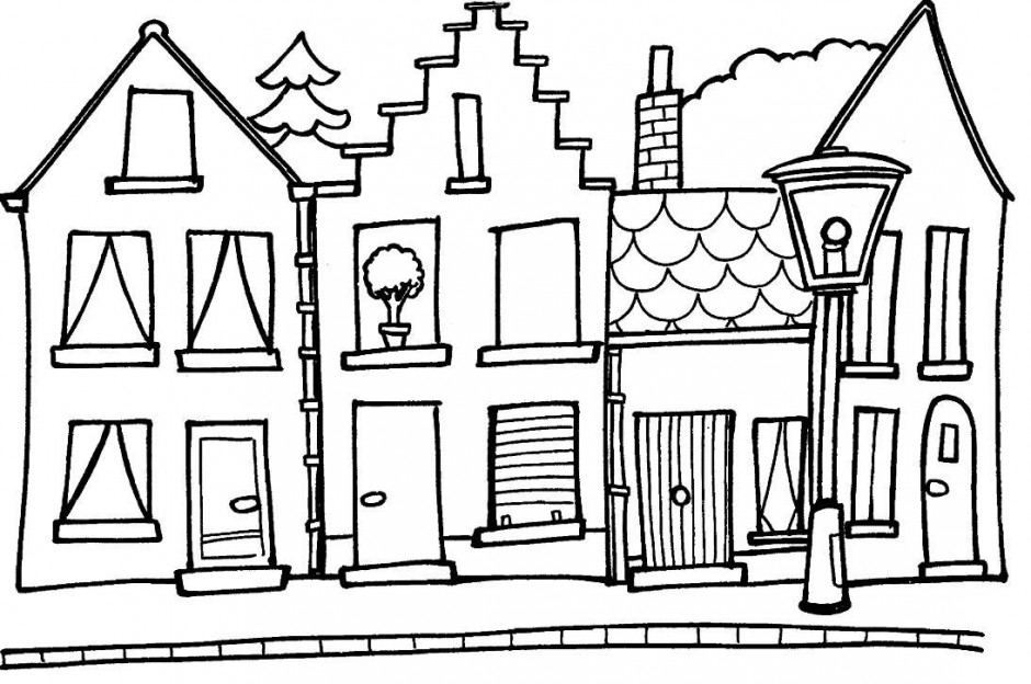 House Line Art Cliparts Co Houses Colouring Pages