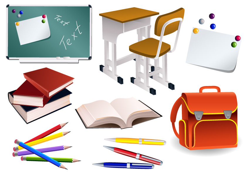 Students school supplies vector material Free Vector / 4Vector