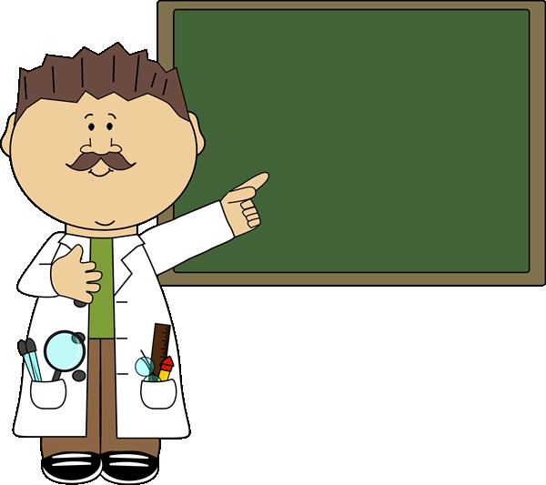 Science Teacher Pointing to Female Science Teacher Cartoon