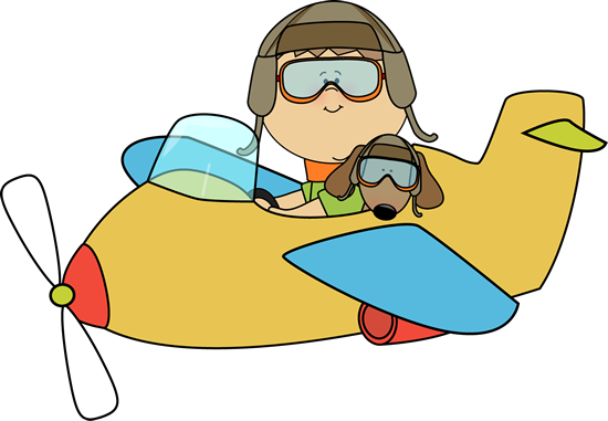 Boy and Dog Flying an Airplane Clip Art - Boy and Dog Flying an ...