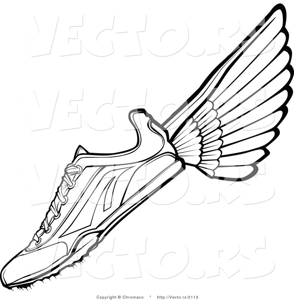 Cartoon running shoe for Running shoe coloring page