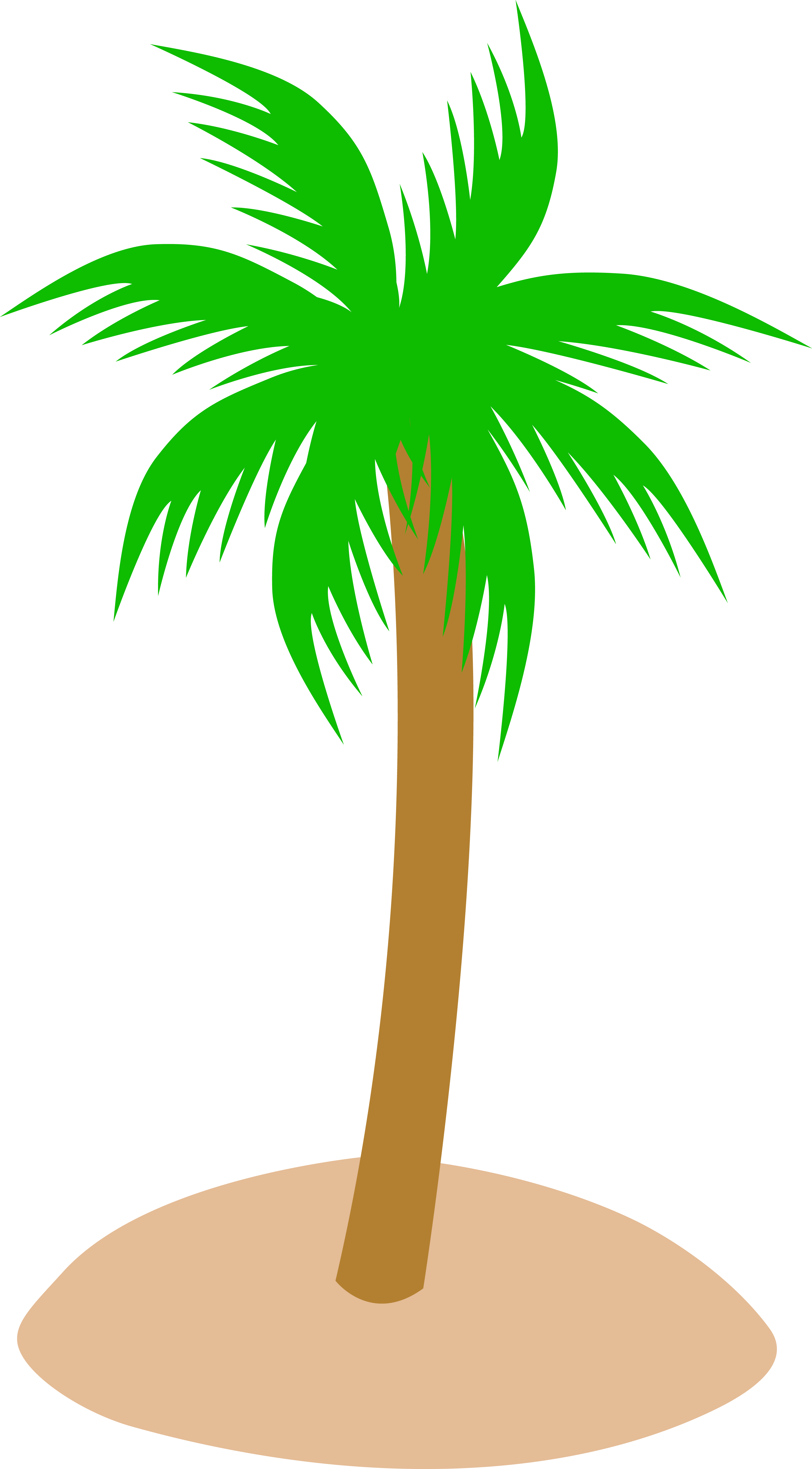 Tropical Palm Tree in Sand - Free Clip Art