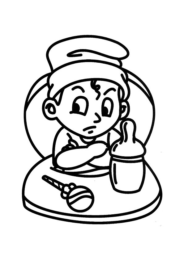 Coloring Page Of A Cross Little Boy In A High Chair