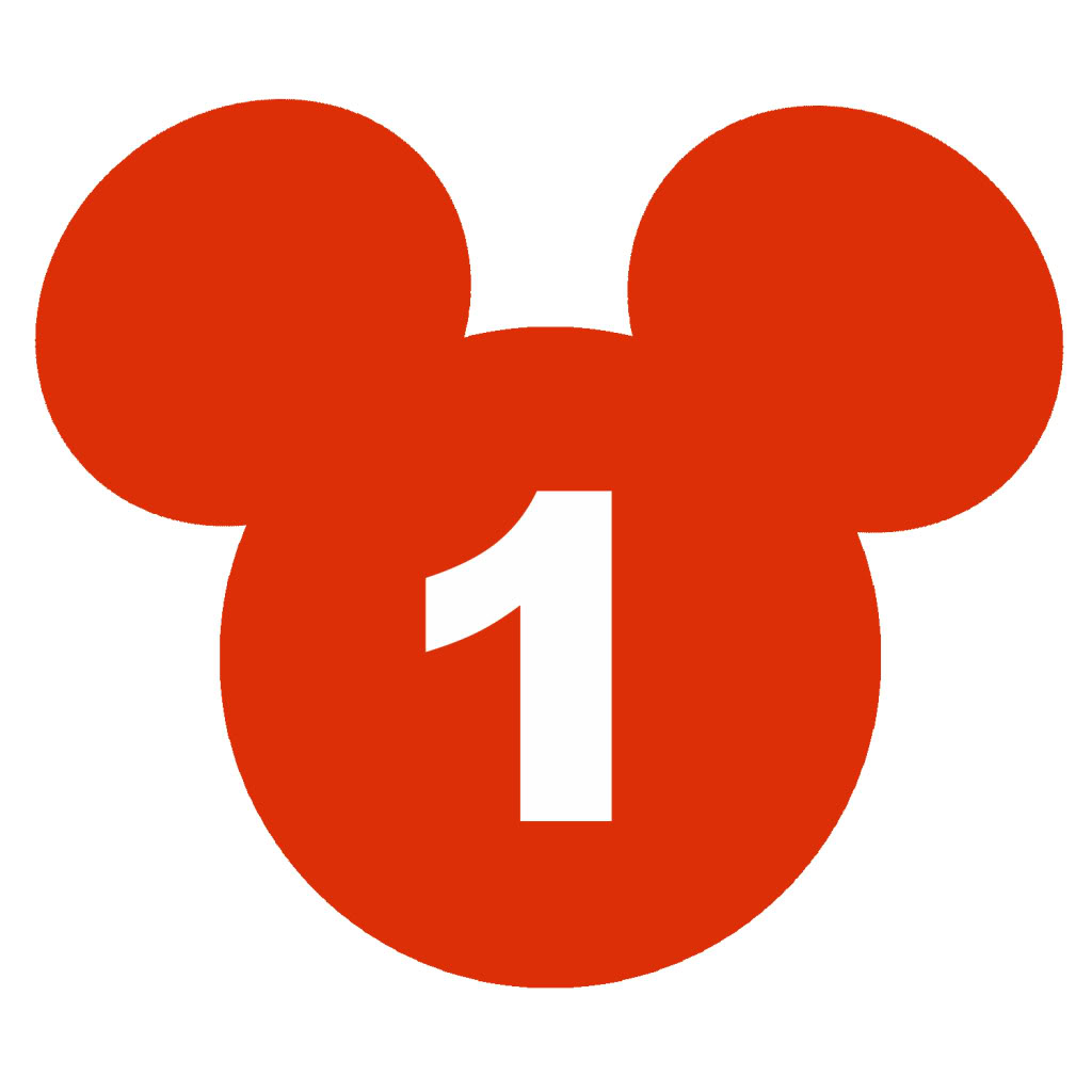 Mickey Mouse Head with Number 1 Clip Art