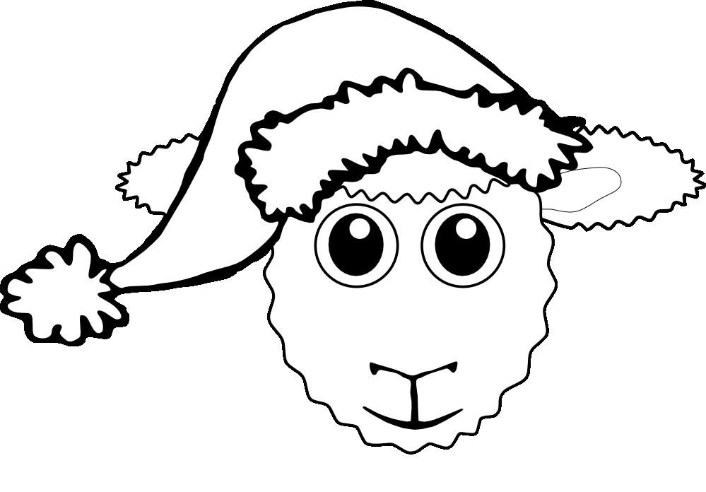 Line Drawing Santa Face : Lamb cartoon images cliparts