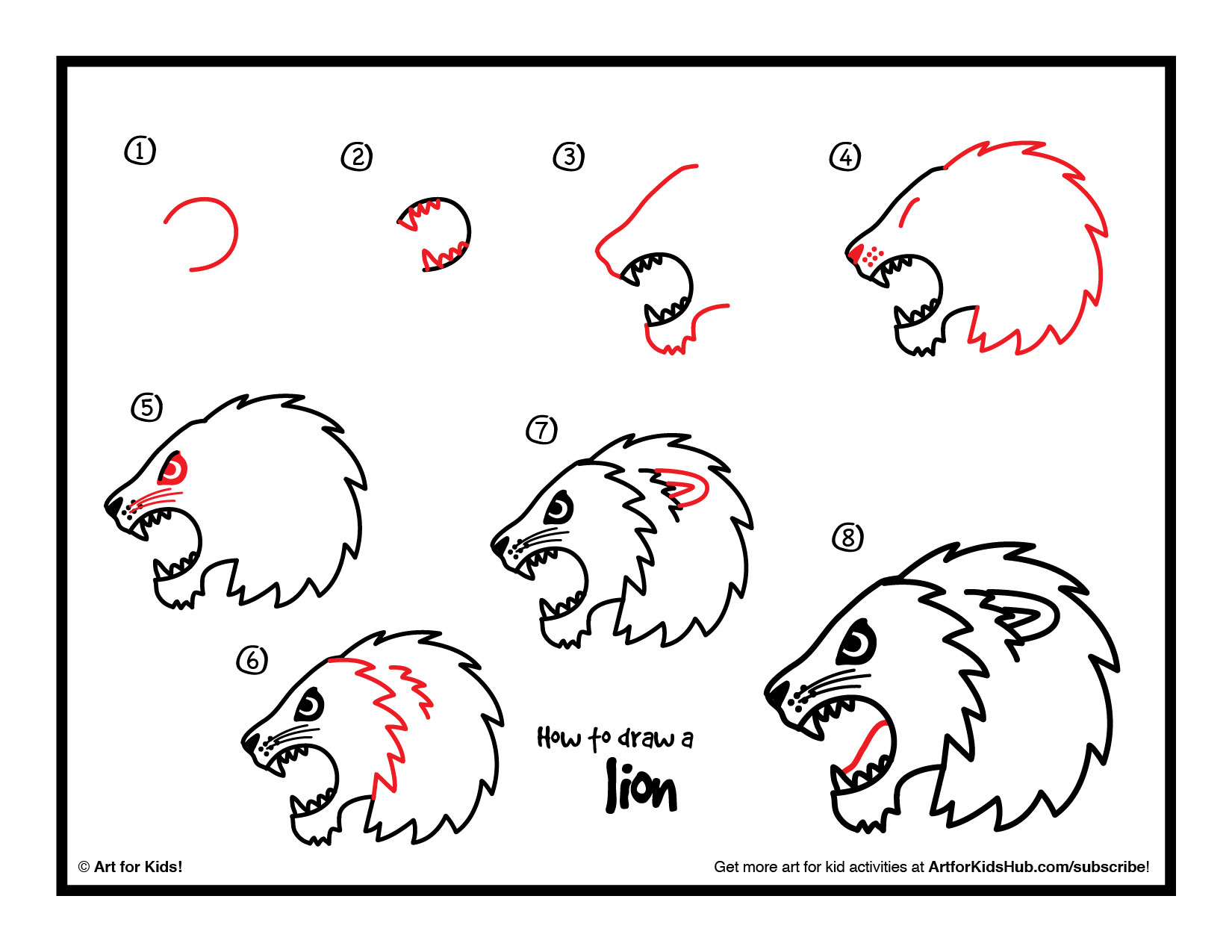 steps on how to draw a lion