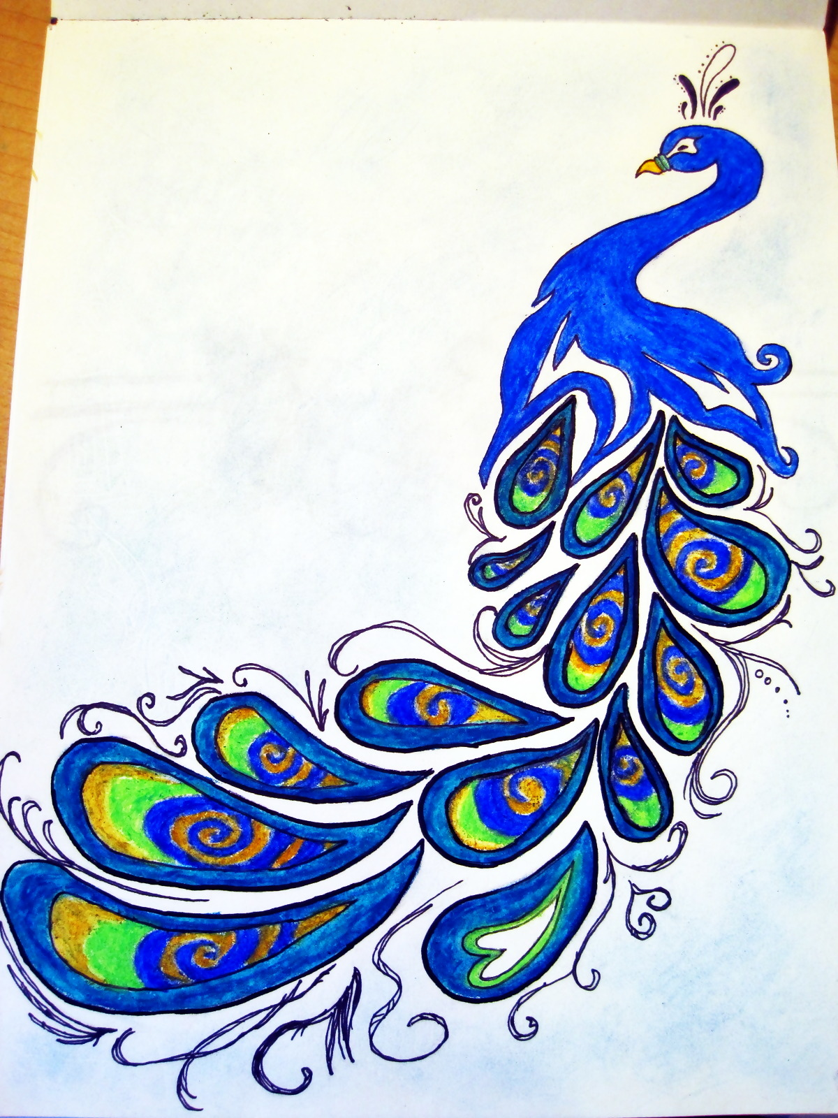 Simple colorful peacock drawing for Easy peacock paintings