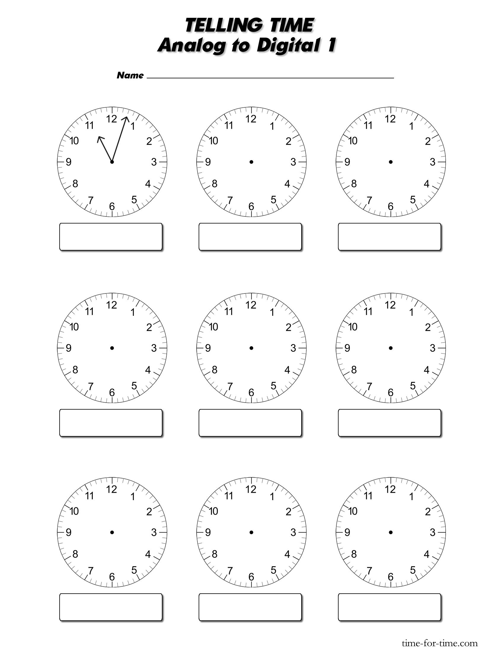 Digital clocks worksheets magielinfo – Analog Clock Worksheet