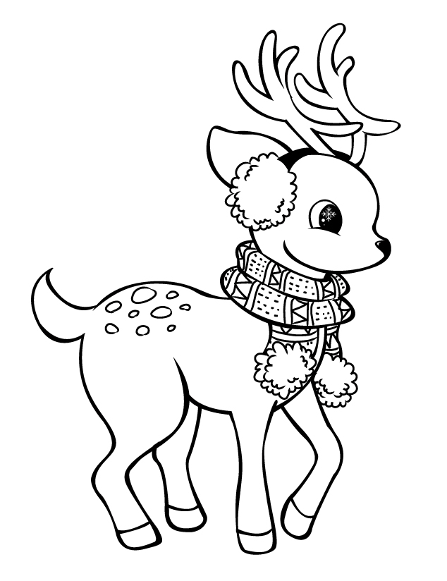 Cute Rain Deer Coloring Pages