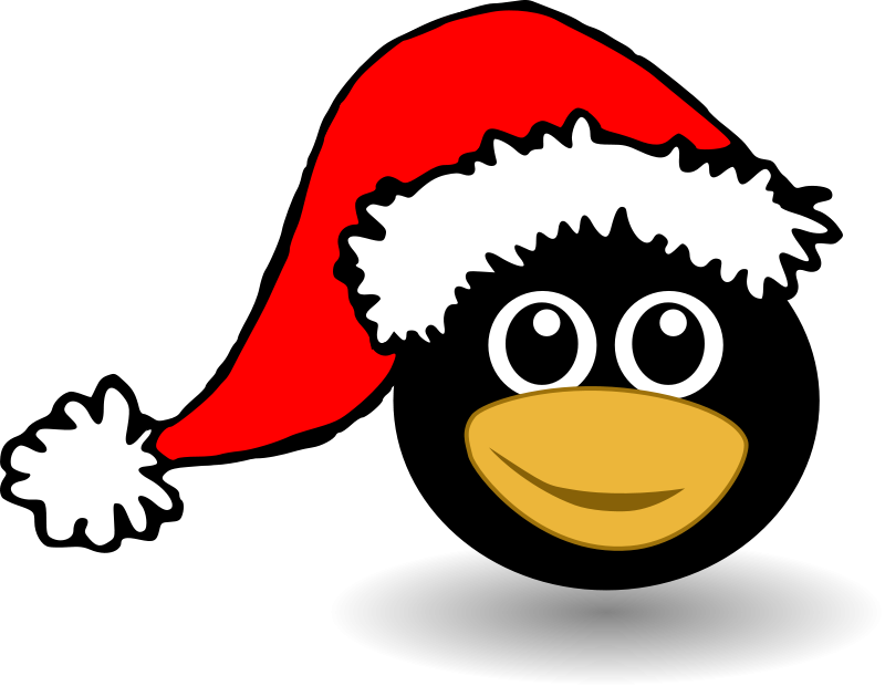 Funny tux face with Santa Claus hat Free Vector / 4Vector
