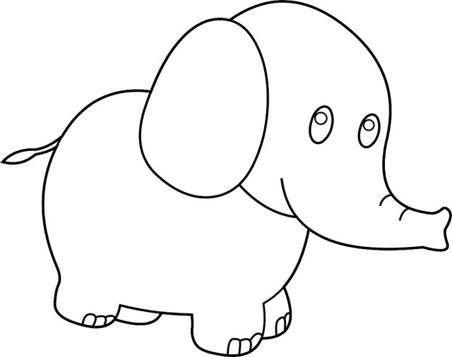 Cute Elephant clip art free coloring pages | Coloring Pages