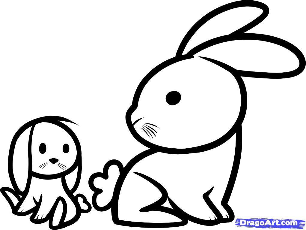 Line Drawing Pet Animals : Rabbit line art cliparts