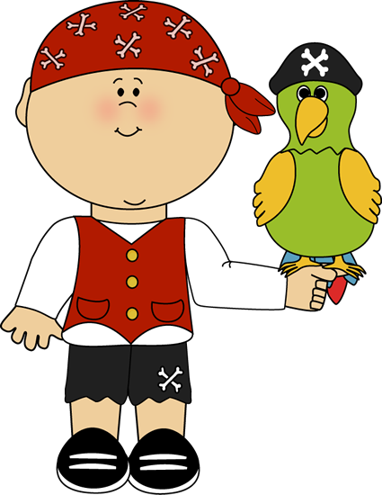 Pirate with Parrot Clip Art - Pirate with Parrot Image