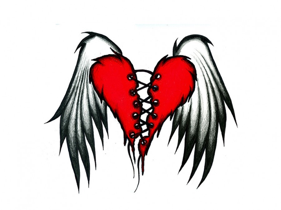 Broken Hearts With Wings Drawings Images & Pictures ...